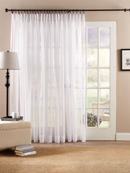 Classic Sheers Pinch Pleat Patio Panel White Curtains Living Room Sheers Curtains Living Room Living Room Sliding Doors