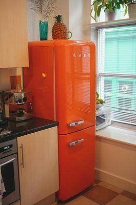 Orange Is Love Love It I Painted My Refrigerator And Dishwasher Bright Orange Retro Fridge Smeg Orange Kitchen