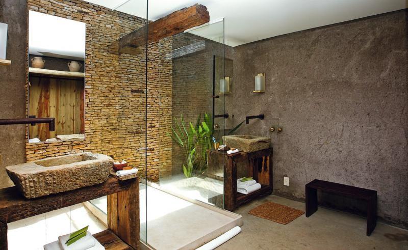 Badezimmer fliesen aus stein badewanne und wand - Asiatische trennwand ...