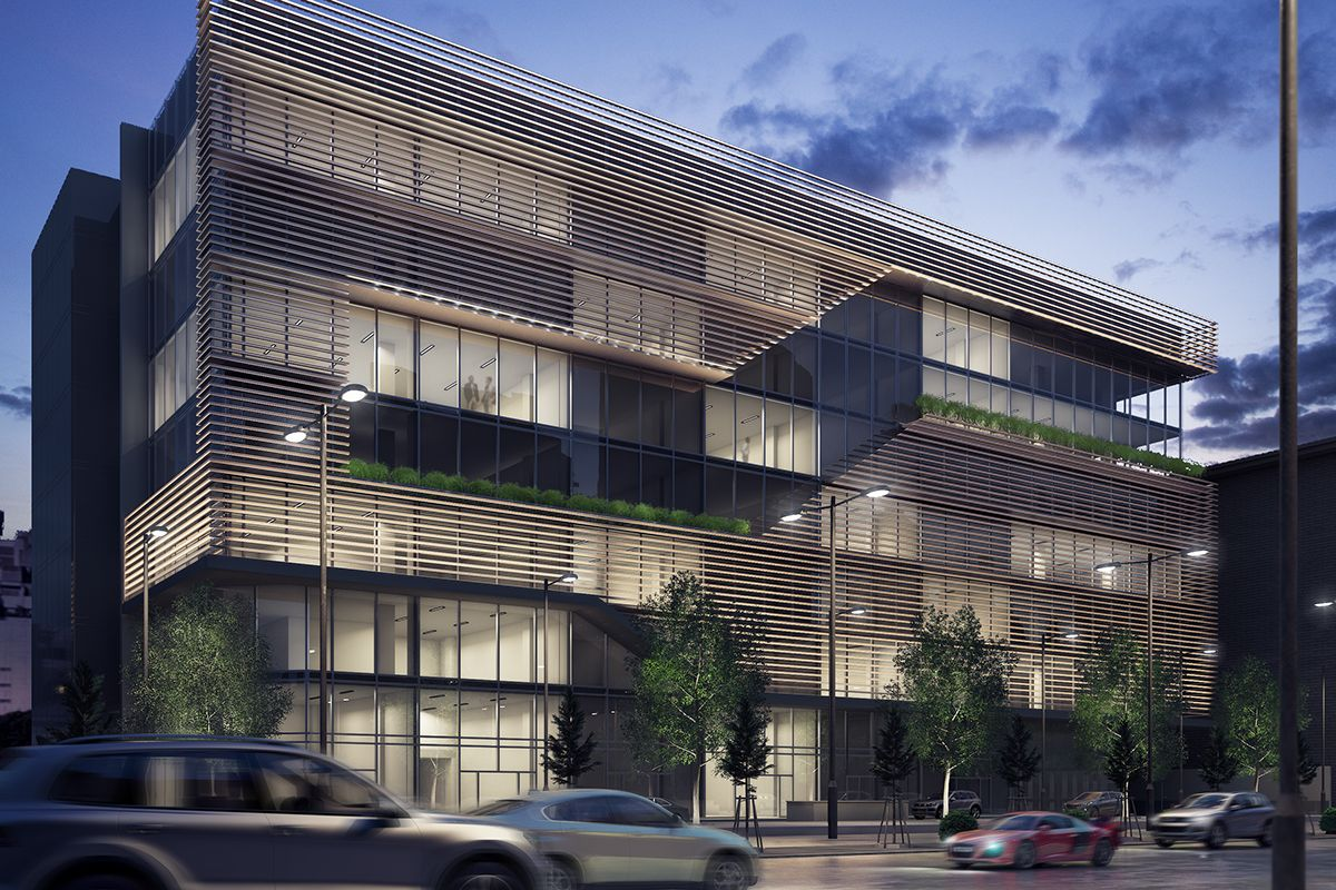 Exterior Render Office Building On Behance 3ds Max Vray Pinterest