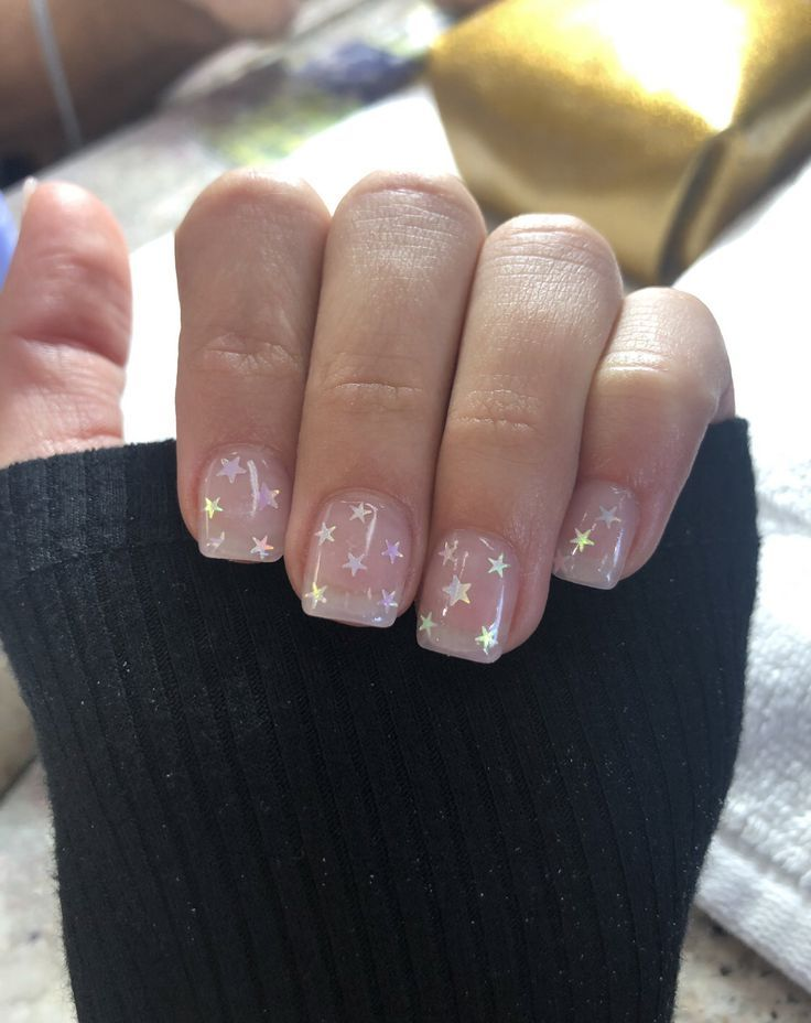 Gel #nails #with #star #sparkles