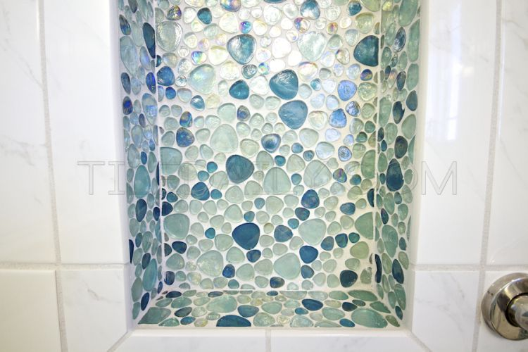 Iridescent Pebble Glass Mosaic Bathroom Installation Glass Mosaic Tiles Mosaic Glass Mosaic Tile Mix