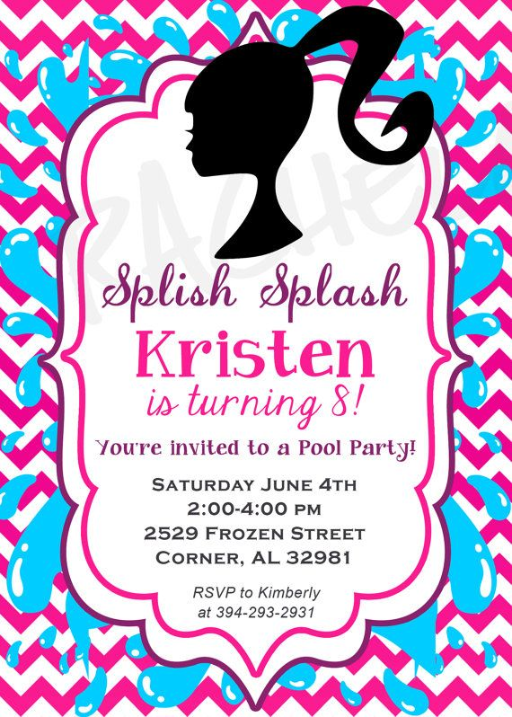 Barbie Pool Party Birthday Invitation Swim Diy By Rachellola