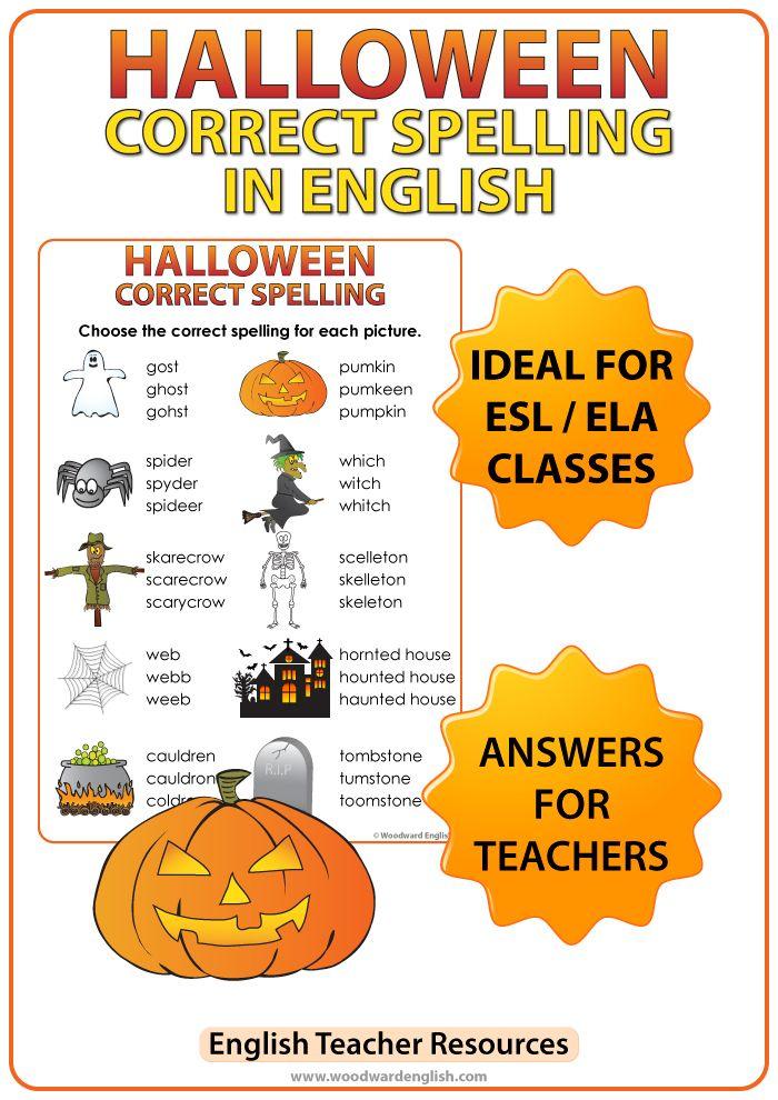 halloween english spelling worksheet english teacher resources spelling worksheets spelling. Black Bedroom Furniture Sets. Home Design Ideas