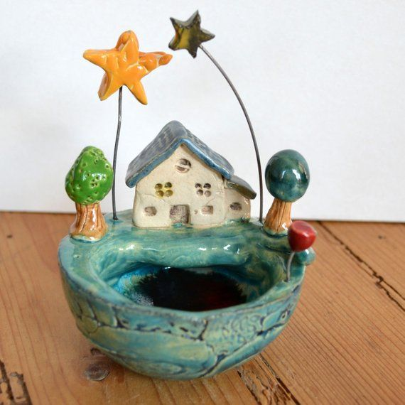 Keramik Schale kleine Welt - Haus am Meer #tazasceramica