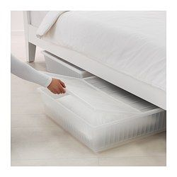 Ikea Gimse White Underbed Storage Box Tiny Bedroom