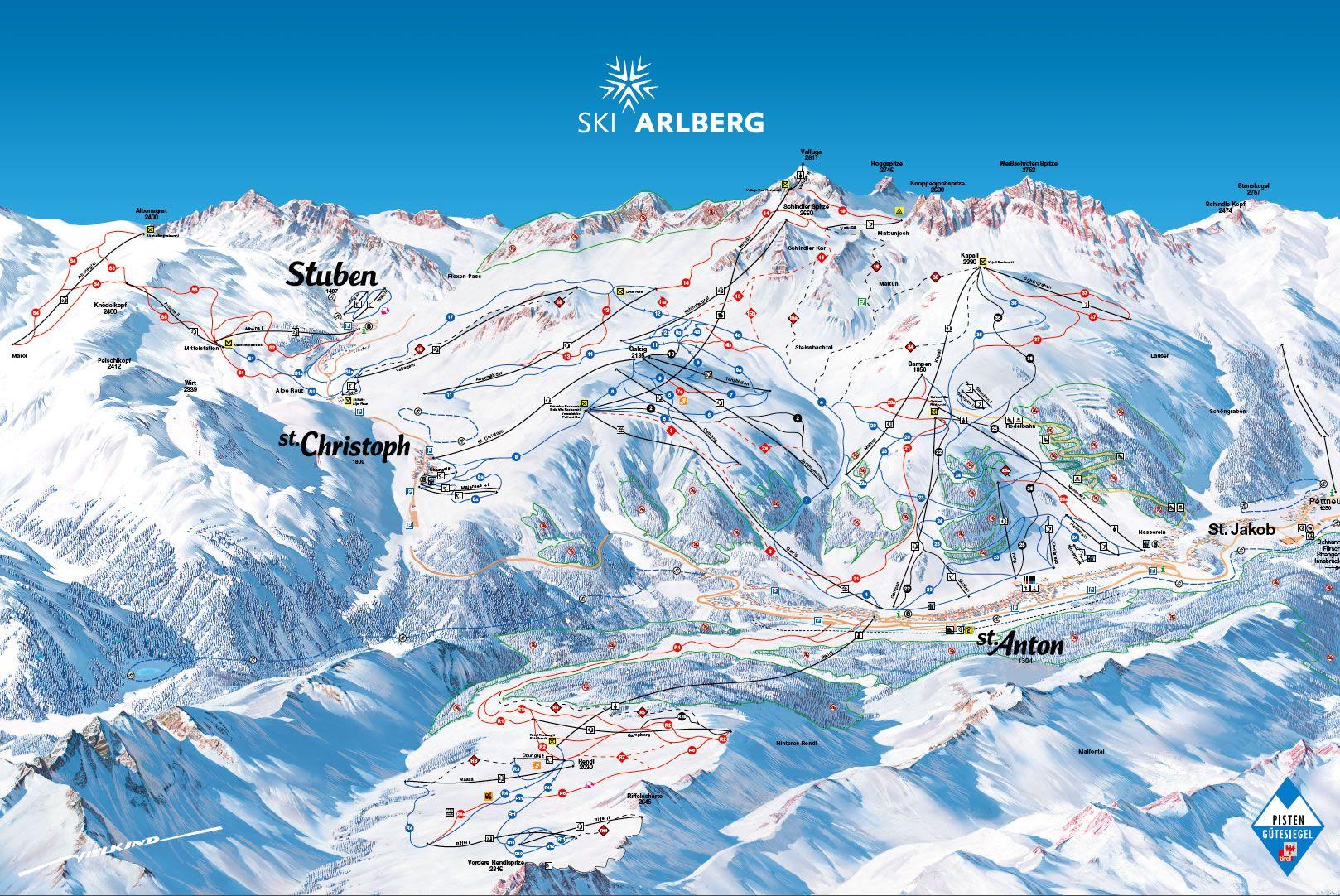 St Anton piste map St Anton piste