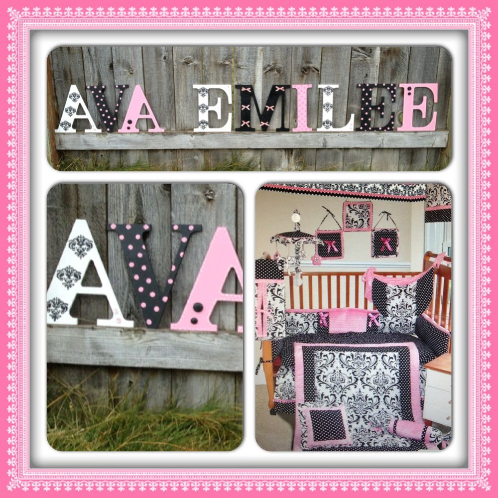 Black, pink, white , damask, nursery decor, girls room ...
