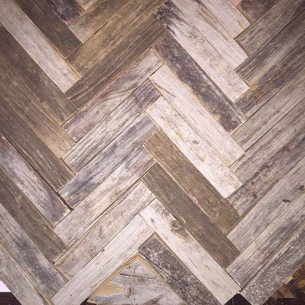Reclaimed Wood Herringbone Backsplash For Bathroom Vanity, Bathroom Ideas,  Wall Decor, Mixed Tone