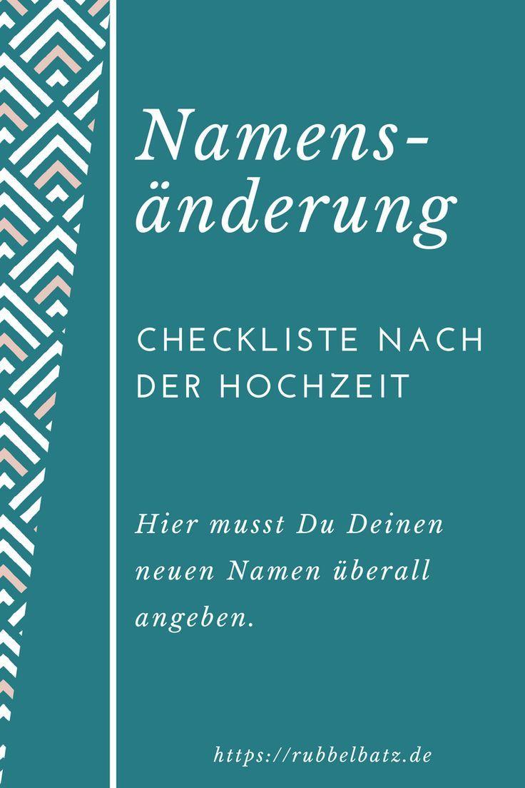 Checkliste für Namensänderung nach Hochzeit | Rubbelbatz