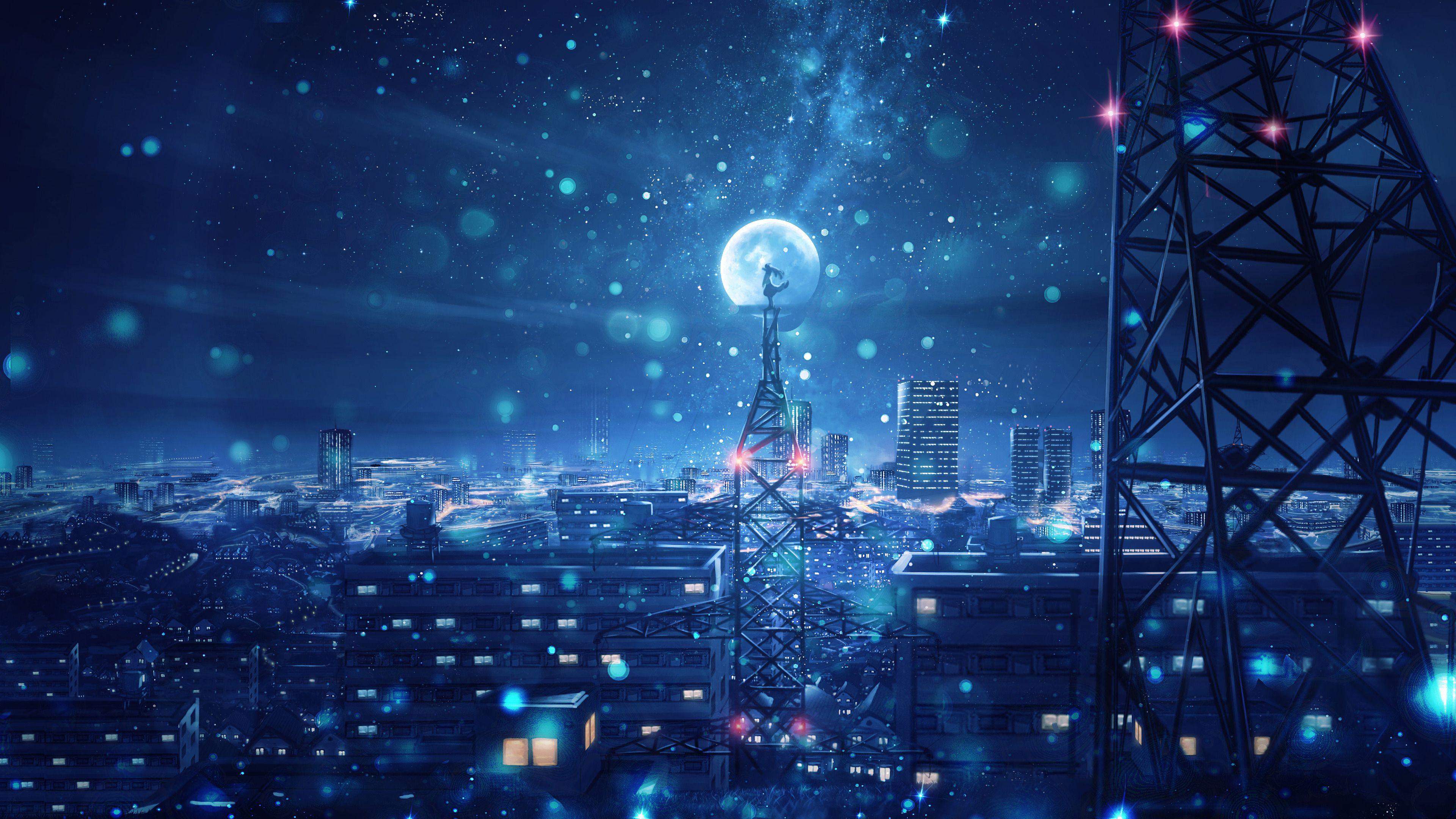 Anime Night Sky City Wallpaper Pc In 2020 Sky Anime Hd Anime Wallpapers Anime Scenery Wallpaper
