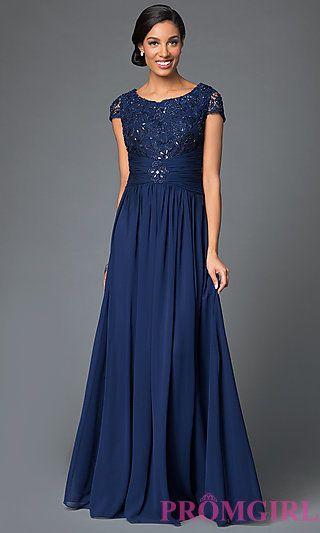 cdaa8520290 Cap-Sleeve Scoop-Neck Long Prom Dress by Elizabeth K | Prom Dresses ...
