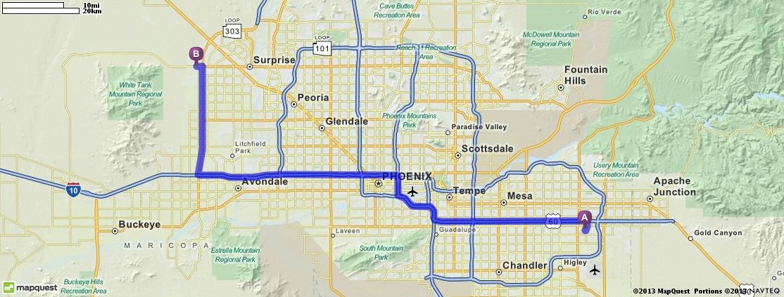 Driving Directions from 7563 E Lobo Ave  Mesa  Arizona 85209 to     Driving Directions from 7563 E Lobo Ave  Mesa  Arizona 85209 to 17200 W Bell