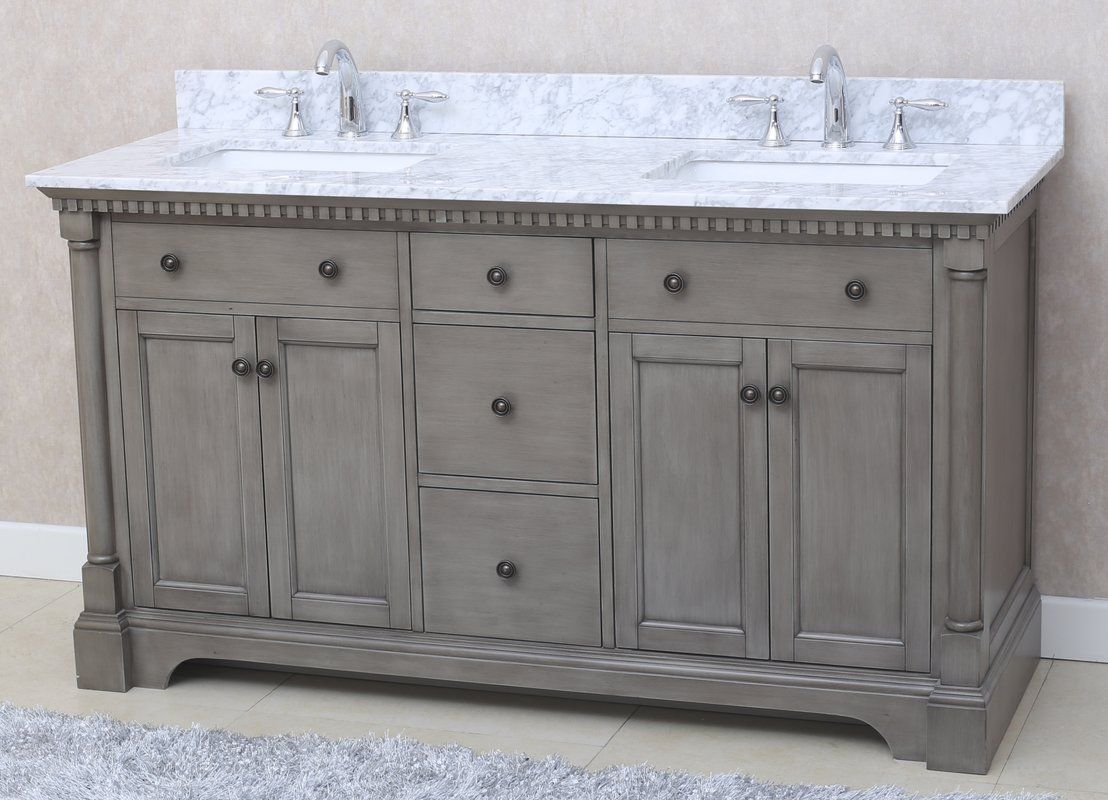 Not Wild About Dentil Molding Stella 61 Double Bathroom Vanity Set Bathroom Vanity Vanity Bathroom Bathroom vanity sets on sale