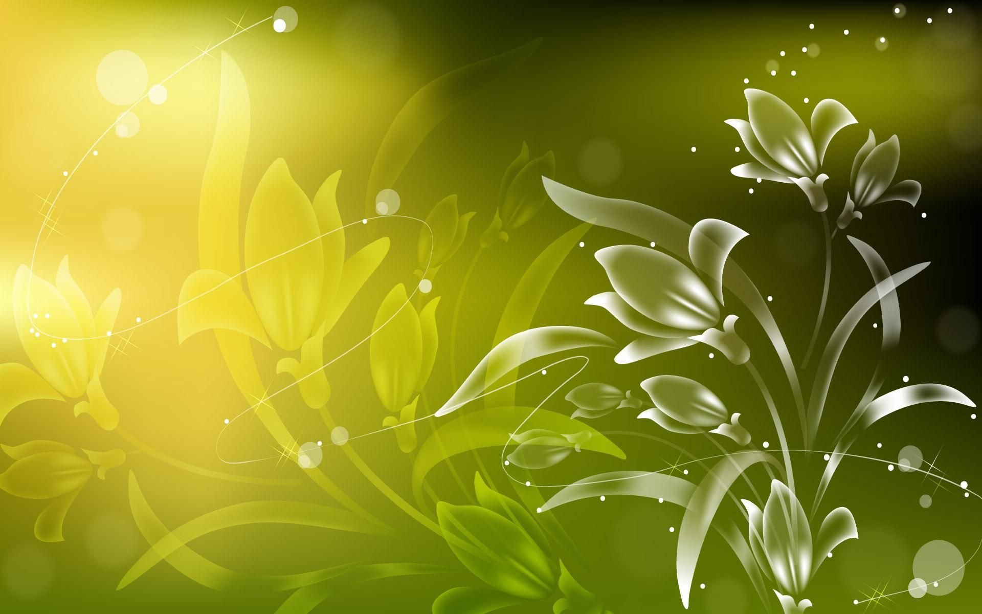Bright Yellow Sunflower Laptop 3d Hd Wallpaper Green Floral Wallpaper Abstract Wallpaper Abstract Flowers