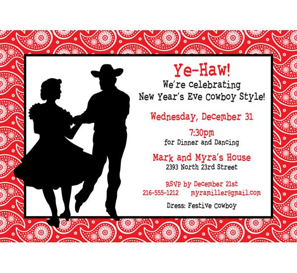 Western Hoedown Invitation  YeHaw New YearS Eve Or Any Party