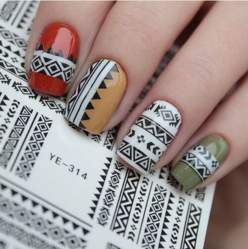 1 sheet tribal geo pattern nail art water decals nail stickers 1 sheet tribal geo pattern nail art water decals nail stickers accessories water transfer sticker nail prinsesfo Images