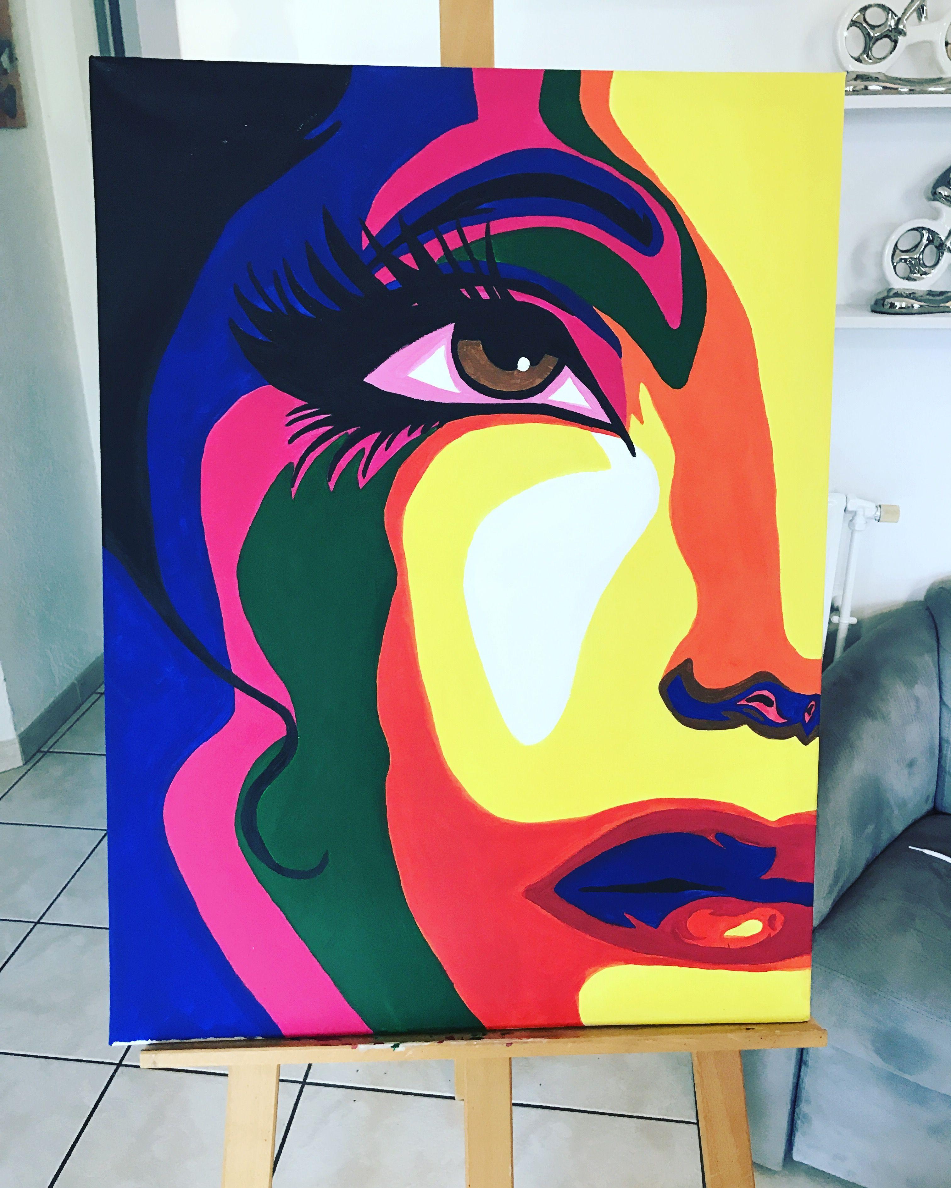 tableau peinture acrylique visage femme couleurs. Black Bedroom Furniture Sets. Home Design Ideas