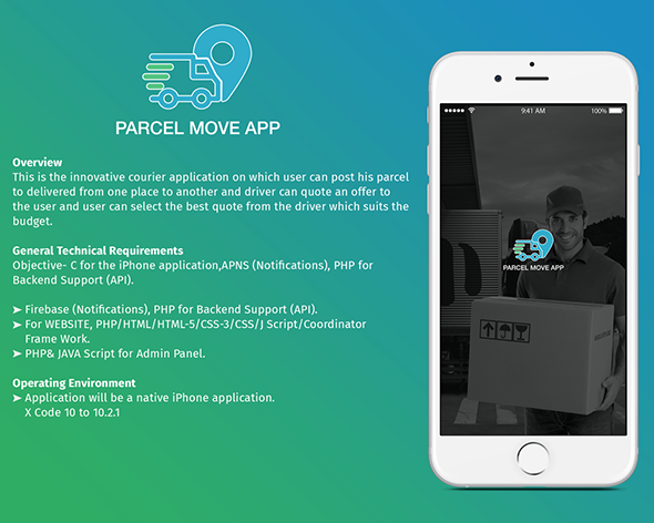 Parcel Move Full Application for iOS Web design