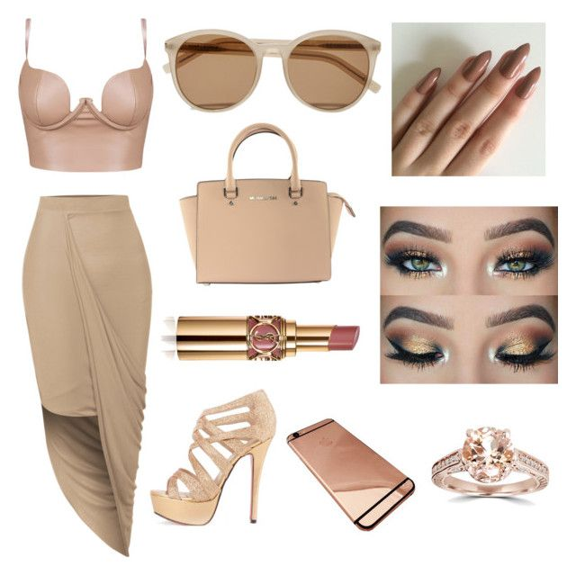 """Nude look"" by cynthiatayeh ❤ liked on Polyvore featuring LE3NO, Michael Kors, Yves Saint Laurent and Bliss Diamond"