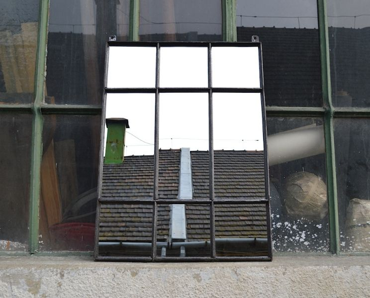 Loft design ipari gy r ablak t k r industrial factory window mirror industrie fabrik fenster - Spiegel industrial metal ...