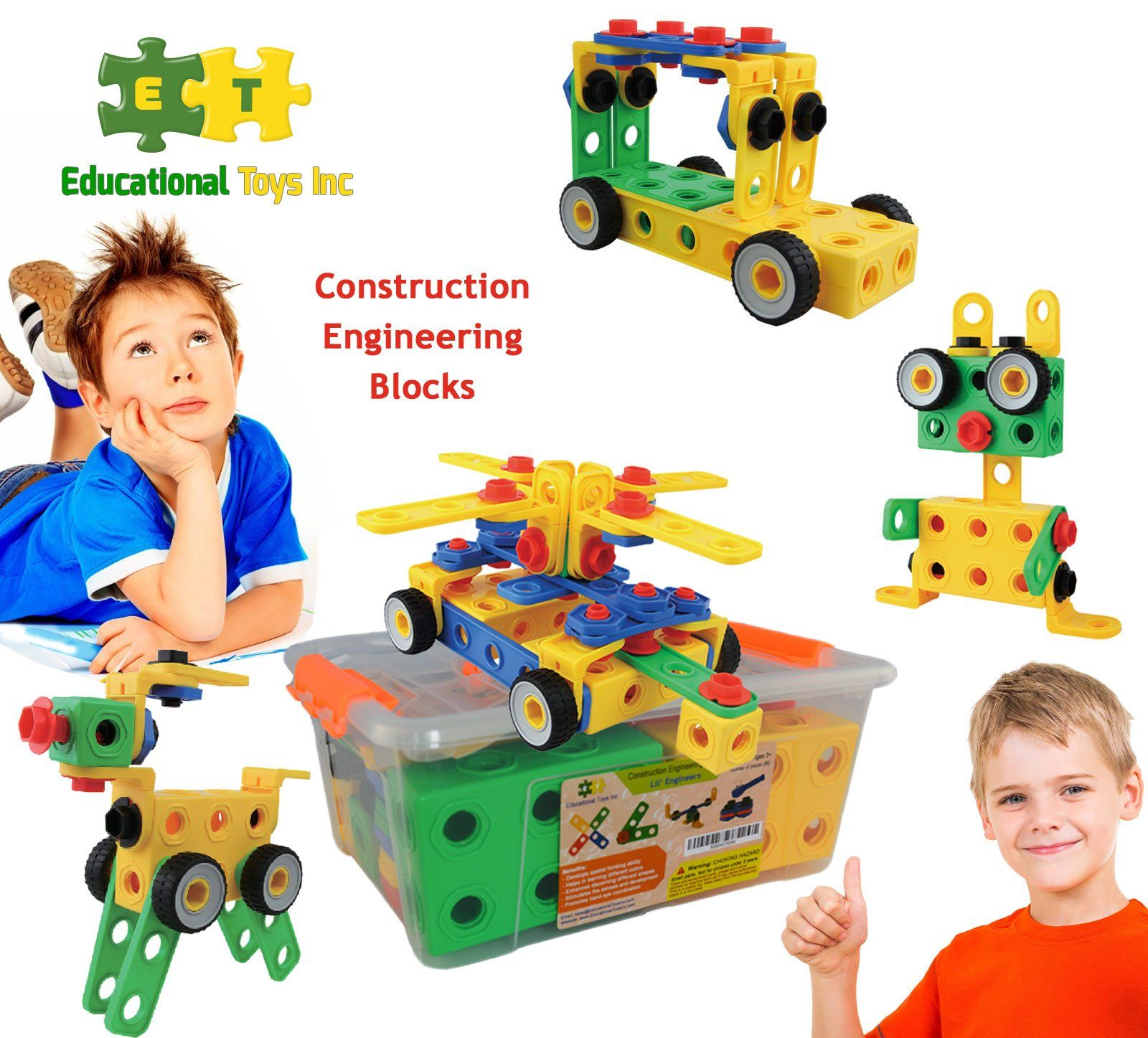 Educational Toys Construction Engineering Blocks By ETI Toys for