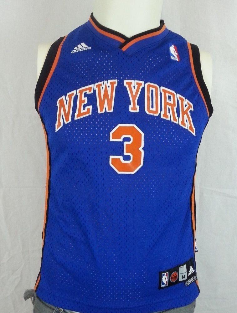 06f44342d Stephon Marbury  3 New York Knicks Starbury Blue Adidas Sewn Jersey Youth -  M