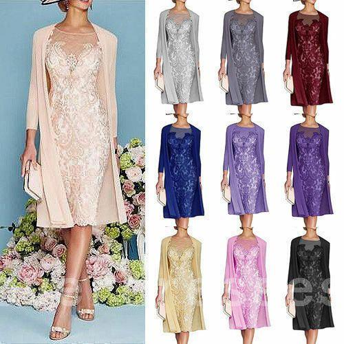 Details zu Elegant Rosa Chiffon Kleider Damen Festlich Gr