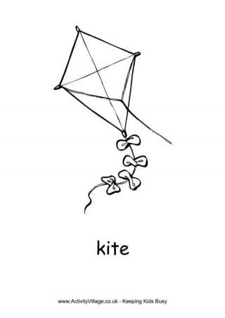 Kite Colouring Page