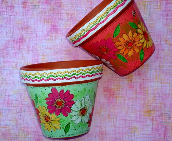 Hand Painted Flower Pot 4 Inch Terracotta Planter Fiesta Made To Order Handmade Flower Pots Painted Flower Pots Painted Terra Cotta Pots