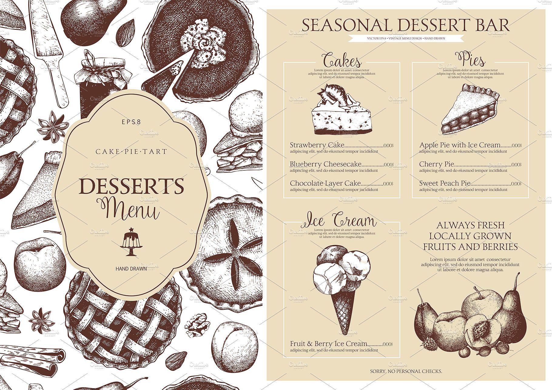 Sweet Bakery Menu Designs Dpi Rgb White Background Desserts Menu Bakery Menu Menu Design