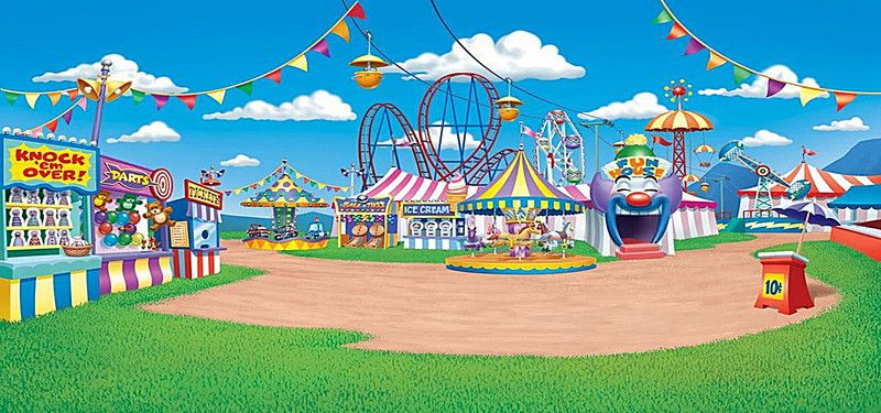 Cartoon Amusement Park Background En 2019