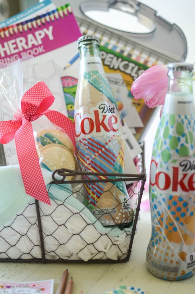 """Diet Coke """"It's Mine"""" Inspired Gift Basket. Bottles so pretty they warrant matching cookies and to be stuffed into an adult coloring book gift basket! #myfavoriteisallmine #ad"""
