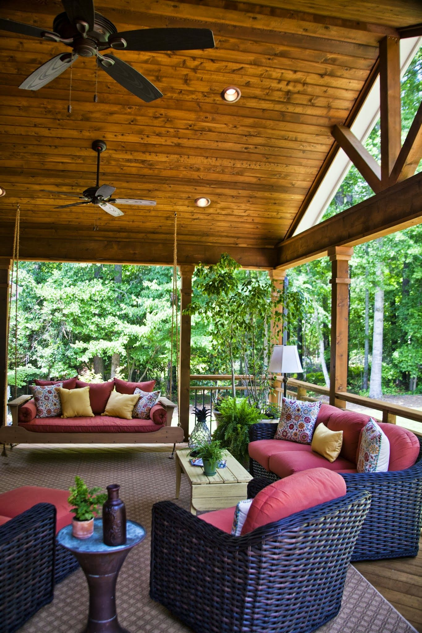 Athens, GA project Open air porch with cedar ceiling