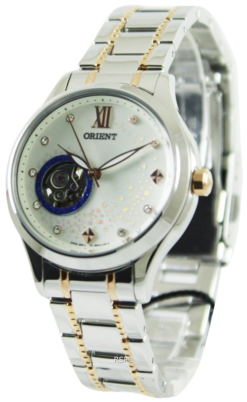 abf0c3a3706 Orient Happy Stream Collection Blue Moon Open Heart DB0A006W Womens Watch