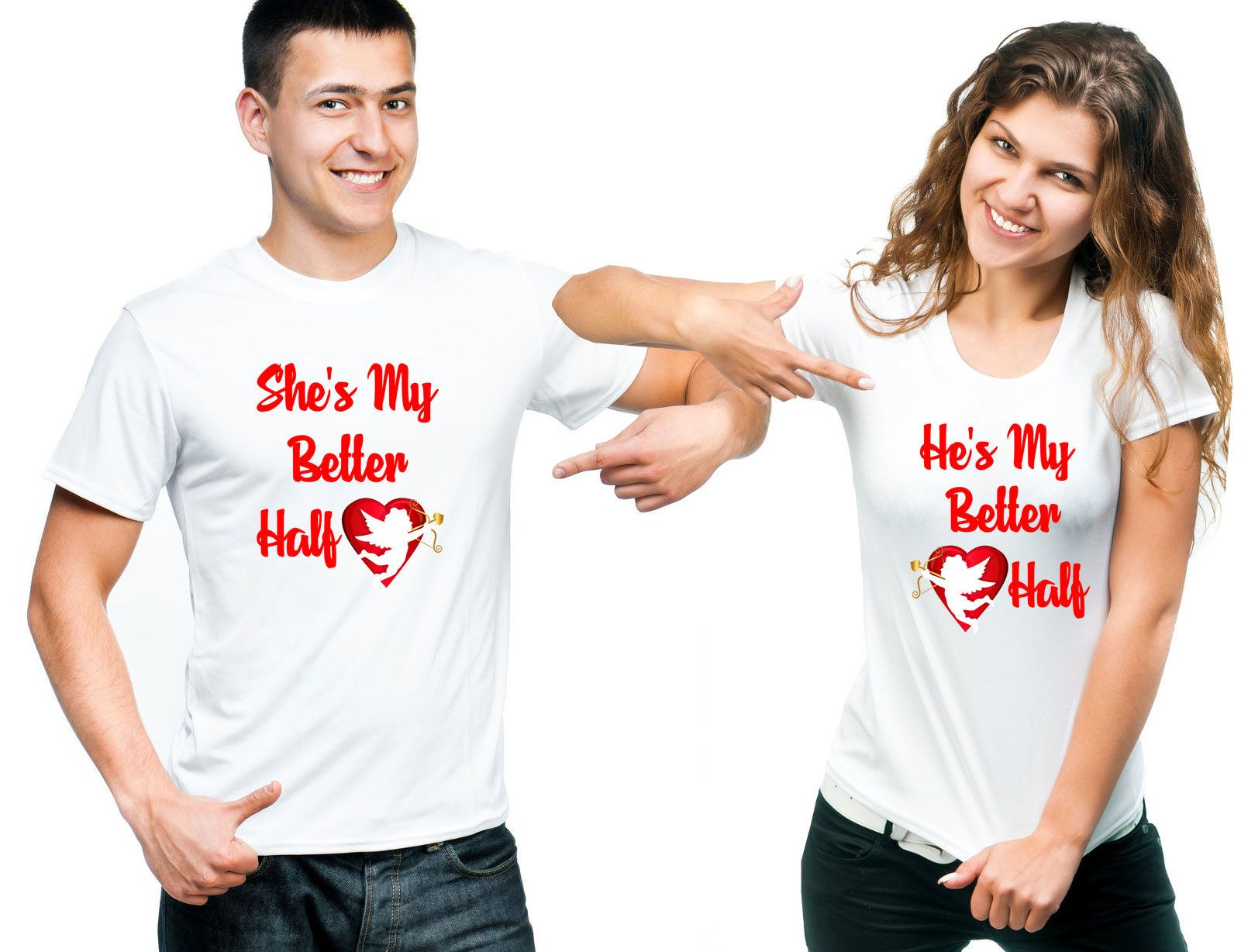 4bd18791d8 Couple Love T-Shirts Valentine's Day Shirts Love T-Shirts He/She's My  Better Half Couple T-Shirts Couple Tees Valentine's Day Gift by  DesignApparelStore on ...