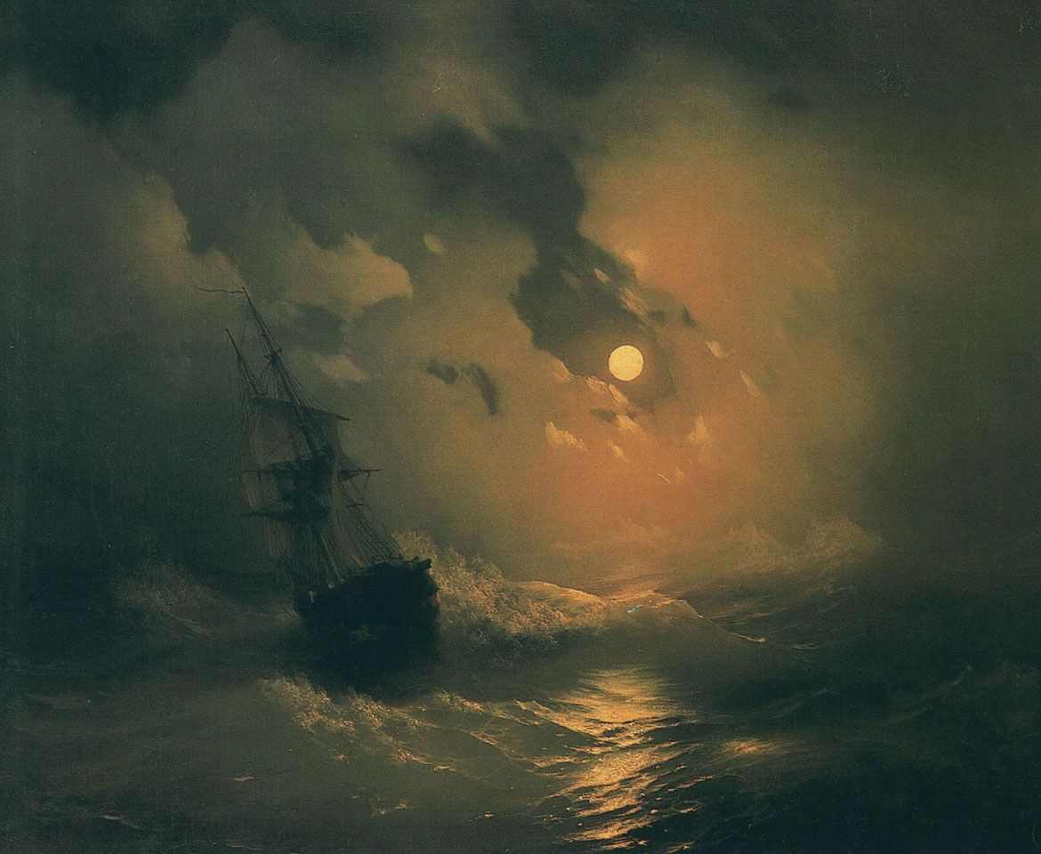 quiltedclouds: Ivan Aivazovski - storm on the sea at night ...