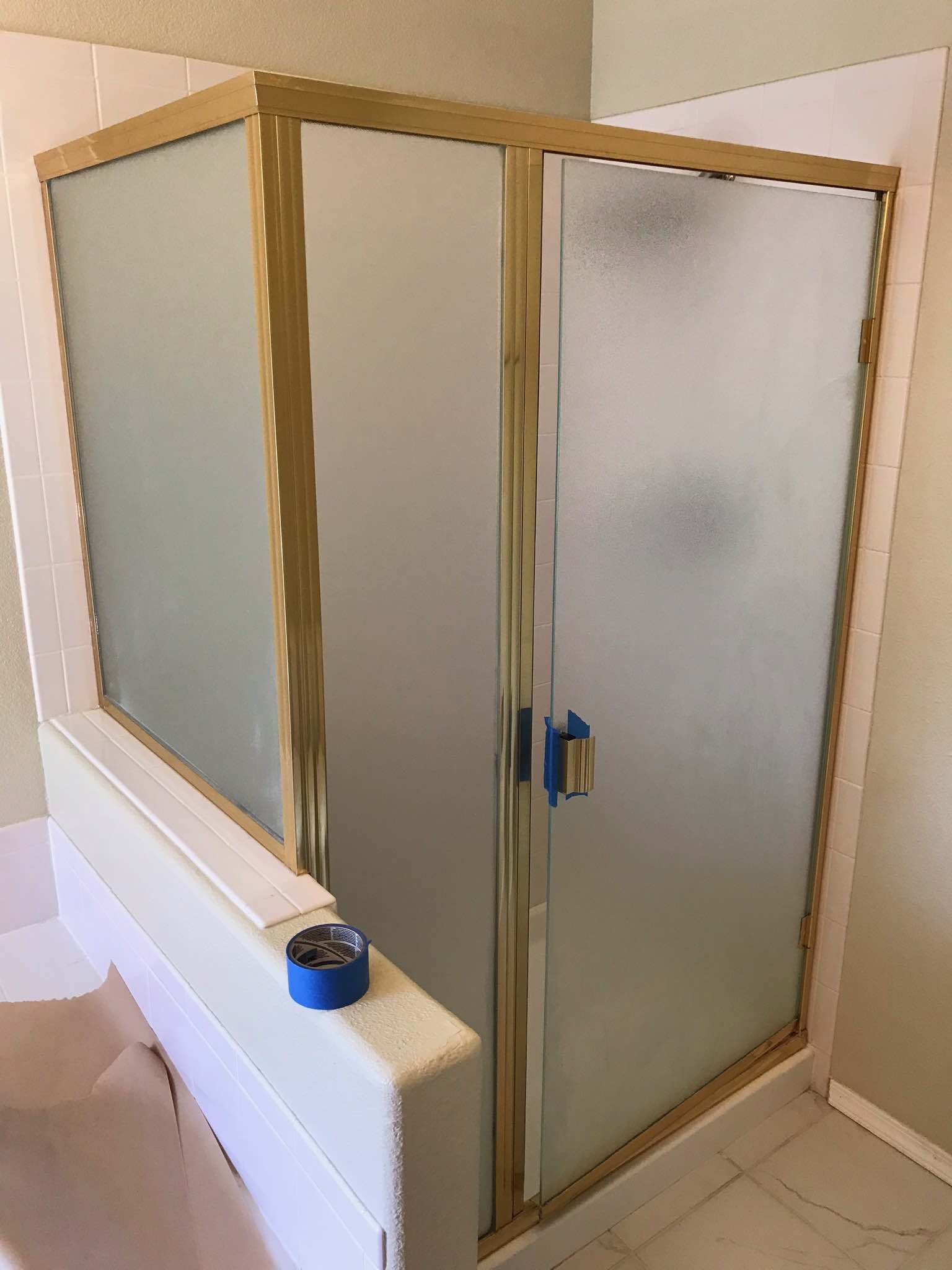 How To Paint A Brass Shower Frame For 30 Shower Door Diy Diy