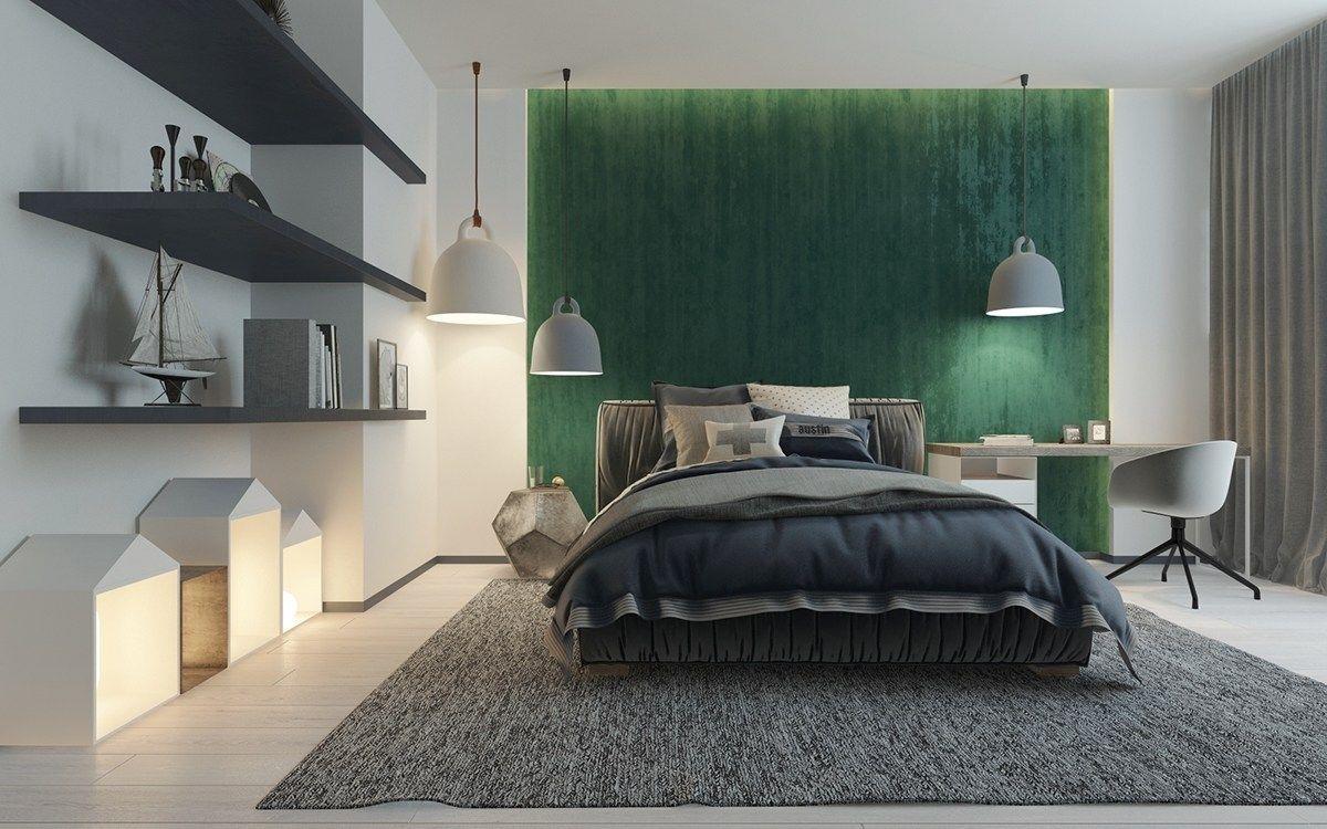 via homedesigning Bedroom green, Green bedroom walls