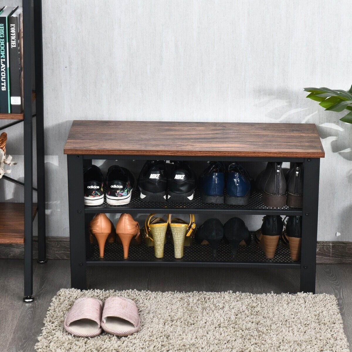 3 Tier Shoe Rack Industrial Shoe Bench With Storage Shelves Shoe Storage Bench Entryway Shoe Bench Shoe Storage Bench With Doors