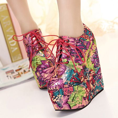 Floral Design Wedge Heel Spring Fashion Boots