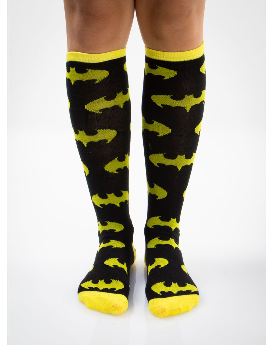 b1be8980754 Batman Yellow and Black Logo Print Knee High Socks