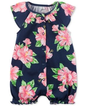 Carters Baby Girl jumpsuit Hot Pink and Navy Flower Print 6 months
