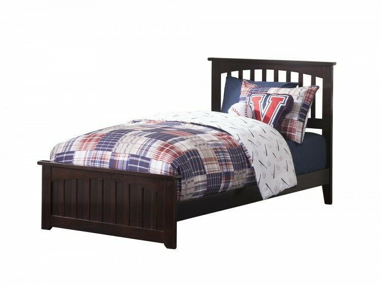 Details About Twin Xl Bed Espresso Wood Bedframe Headboard