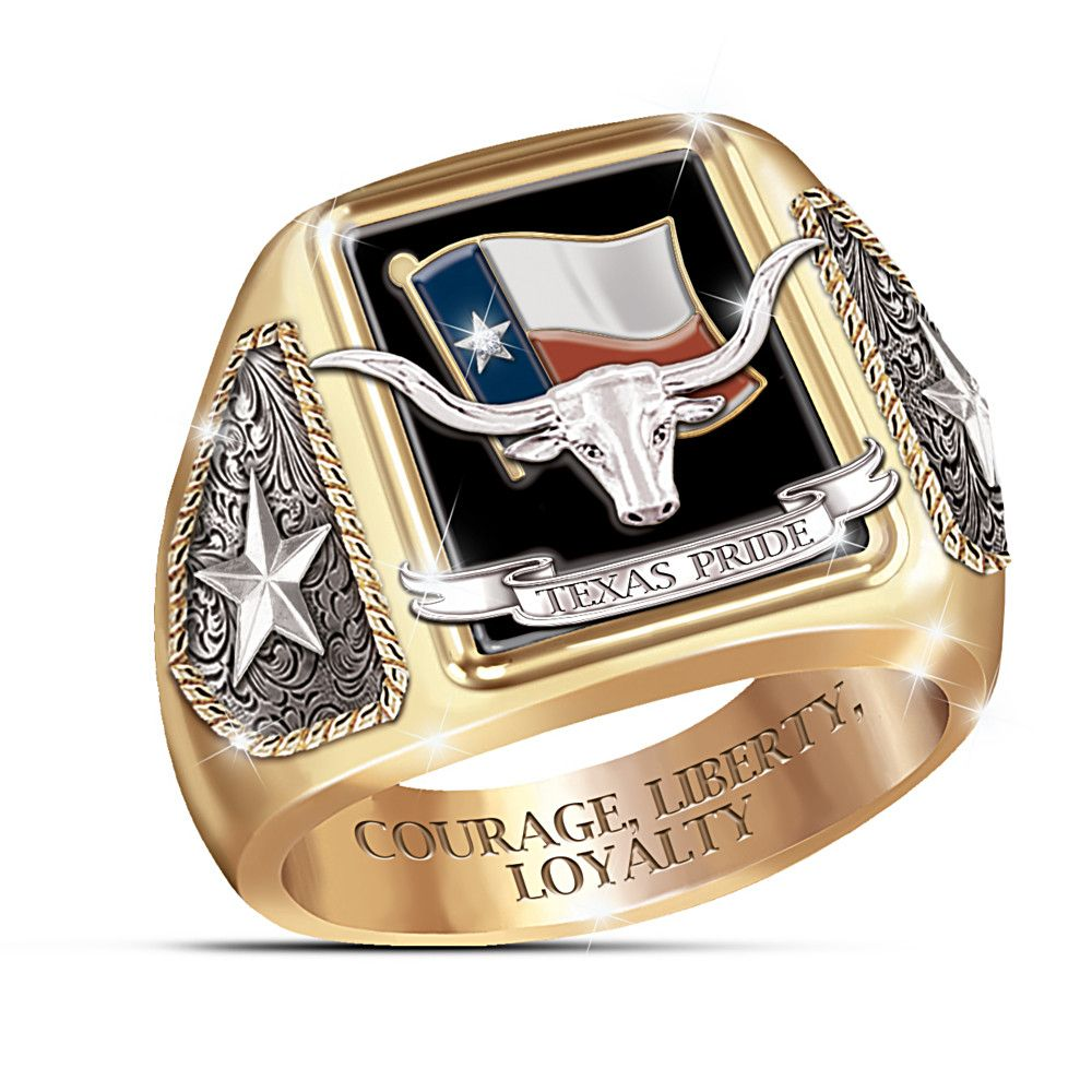 """""""Spirit Of The West"""" Western Style Horseshoe Men's Ring in"""