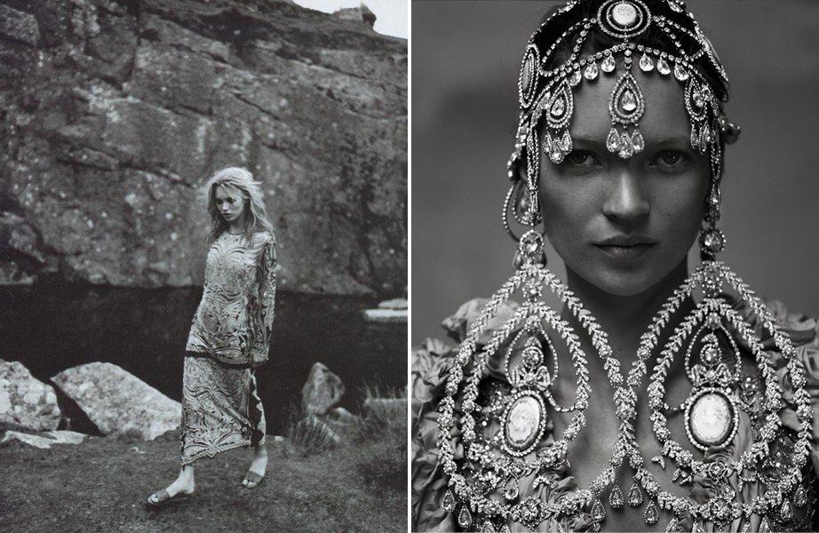 (L) Photo by Juergen Teller, Vogue Italia, 1998. (R) Photo by Annie Leibovitz, October Vogue US, 1999.