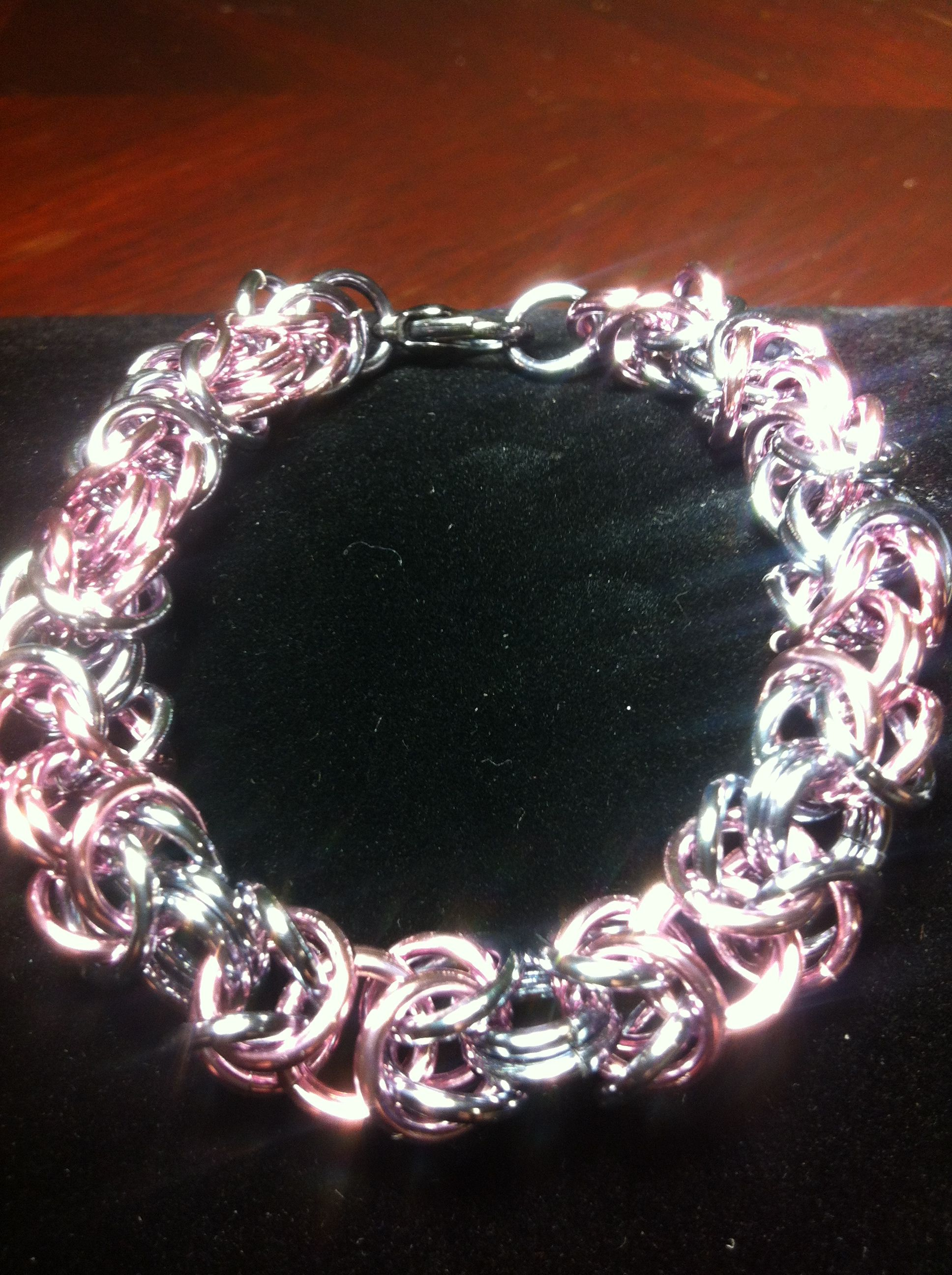 Pink and black ice chainmail bracelet ronus chain mail creations