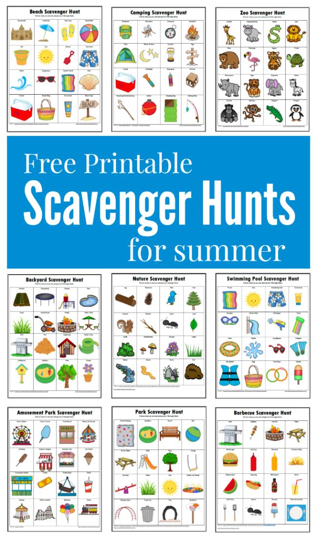 Free printable fun filled summer themed scavenger hunts for kids