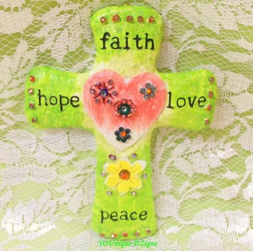 Cross, ceramic clay with Faith, Love, Hope, and Peace wall hanging ...