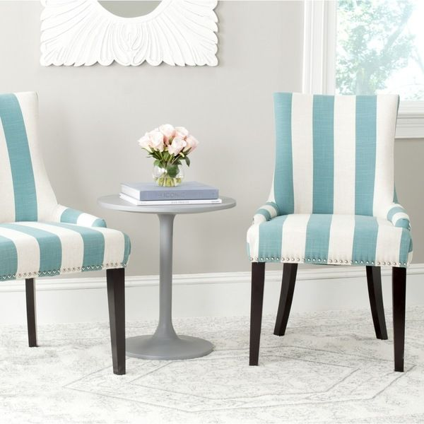 Safavieh En Vogue Dining Lester Aqua Blue White Stripe Polyester Blend Chairs Set Of 2 By